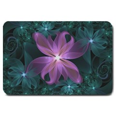 Pink And Turquoise Wedding Cremon Fractal Flowers Large Doormat  by jayaprime