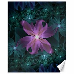 Pink And Turquoise Wedding Cremon Fractal Flowers Canvas 11  X 14   by jayaprime