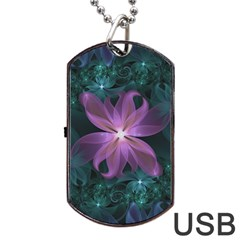 Pink And Turquoise Wedding Cremon Fractal Flowers Dog Tag Usb Flash (one Side) by jayaprime