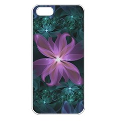 Pink And Turquoise Wedding Cremon Fractal Flowers Apple Iphone 5 Seamless Case (white) by jayaprime