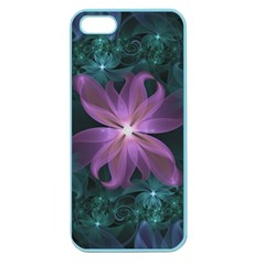 Pink And Turquoise Wedding Cremon Fractal Flowers Apple Seamless Iphone 5 Case (color) by jayaprime