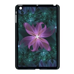 Pink And Turquoise Wedding Cremon Fractal Flowers Apple Ipad Mini Case (black) by jayaprime