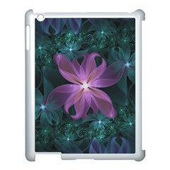Pink And Turquoise Wedding Cremon Fractal Flowers Apple Ipad 3/4 Case (white) by jayaprime