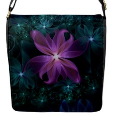 Pink And Turquoise Wedding Cremon Fractal Flowers Flap Messenger Bag (s) by jayaprime