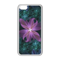 Pink And Turquoise Wedding Cremon Fractal Flowers Apple Iphone 5c Seamless Case (white) by jayaprime