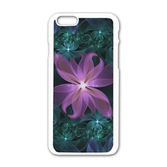 Pink And Turquoise Wedding Cremon Fractal Flowers Apple Iphone 6/6s White Enamel Case by jayaprime