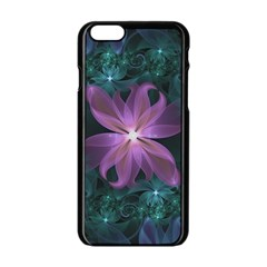 Pink And Turquoise Wedding Cremon Fractal Flowers Apple Iphone 6/6s Black Enamel Case by jayaprime
