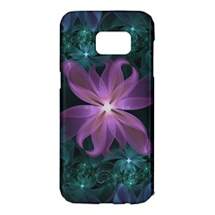 Pink And Turquoise Wedding Cremon Fractal Flowers Samsung Galaxy S7 Edge Hardshell Case by jayaprime