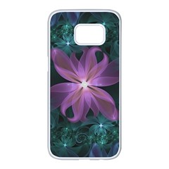 Pink And Turquoise Wedding Cremon Fractal Flowers Samsung Galaxy S7 Edge White Seamless Case by jayaprime
