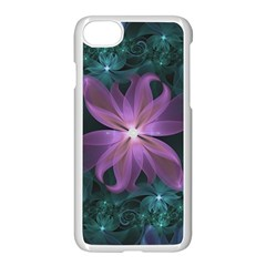 Pink And Turquoise Wedding Cremon Fractal Flowers Apple Iphone 7 Seamless Case (white) by jayaprime