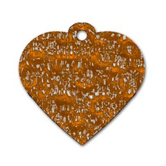 Glossy Abstract Orange Dog Tag Heart (one Side) by MoreColorsinLife
