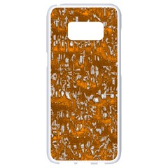 Glossy Abstract Orange Samsung Galaxy S8 White Seamless Case by MoreColorsinLife
