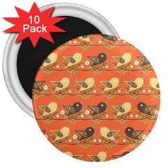 Birds Pattern 3  Magnets (10 Pack)  by linceazul
