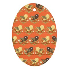 Birds Pattern Oval Ornament (two Sides) by linceazul