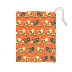 Birds Pattern Drawstring Pouches (large)  by linceazul