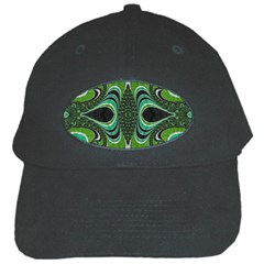 Fractal Art Green Pattern Design Black Cap by BangZart