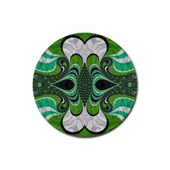 Fractal Art Green Pattern Design Rubber Coaster (round)  by BangZart