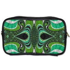 Fractal Art Green Pattern Design Toiletries Bags 2 Side by BangZart