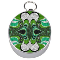 Fractal Art Green Pattern Design Silver Compasses by BangZart