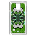 Fractal Art Green Pattern Design Samsung Galaxy Note 4 Case (White) Front