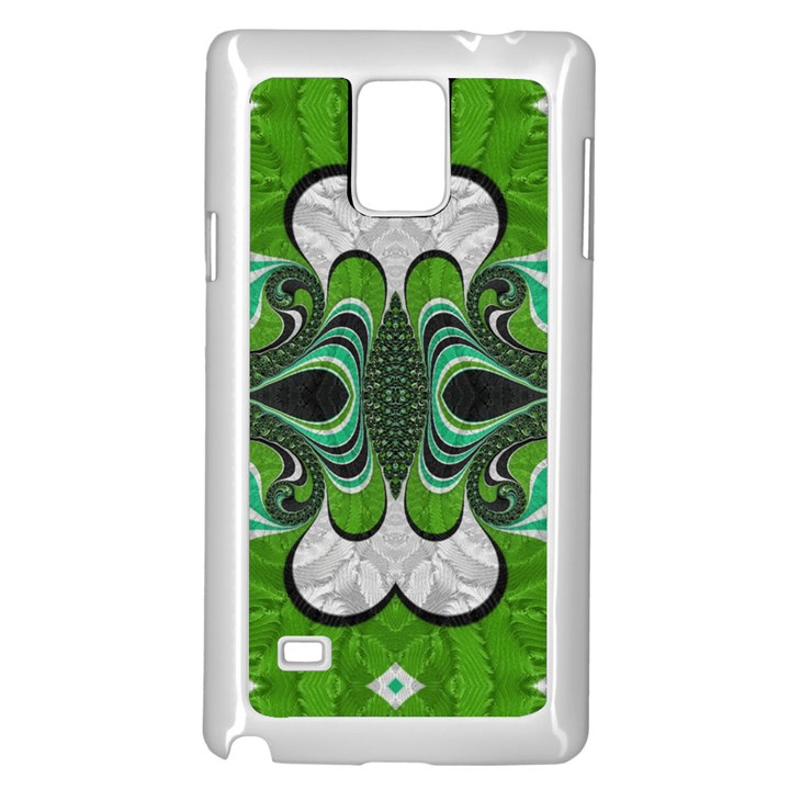 Fractal Art Green Pattern Design Samsung Galaxy Note 4 Case (White)