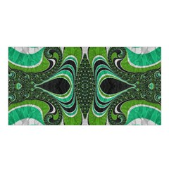 Fractal Art Green Pattern Design Satin Shawl by BangZart
