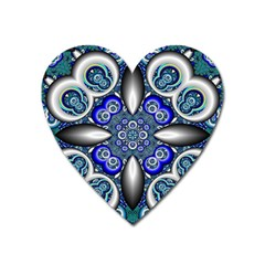 Fractal Cathedral Pattern Mosaic Heart Magnet by BangZart