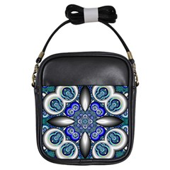 Fractal Cathedral Pattern Mosaic Girls Sling Bags by BangZart