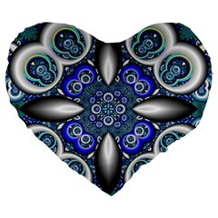 Fractal Cathedral Pattern Mosaic Large 19  Premium Flano Heart Shape Cushions by BangZart
