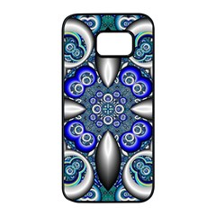 Fractal Cathedral Pattern Mosaic Samsung Galaxy S7 Edge Black Seamless Case