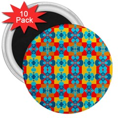 Pop Art Abstract Design Pattern 3  Magnets (10 Pack)