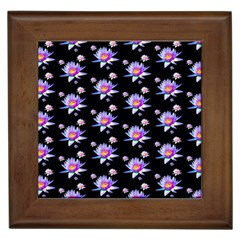 Flowers Pattern Background Lilac Framed Tiles