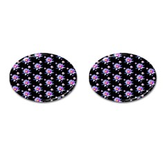 Flowers Pattern Background Lilac Cufflinks (oval) by BangZart