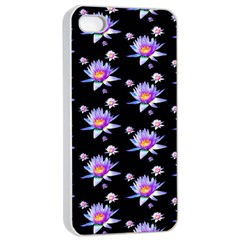 Flowers Pattern Background Lilac Apple Iphone 4/4s Seamless Case (white) by BangZart