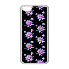 Flowers Pattern Background Lilac Apple Iphone 5c Seamless Case (white)