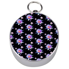 Flowers Pattern Background Lilac Silver Compasses