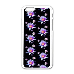 Flowers Pattern Background Lilac Apple Iphone 6/6s White Enamel Case by BangZart
