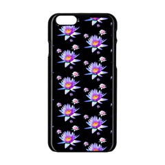 Flowers Pattern Background Lilac Apple Iphone 6/6s Black Enamel Case by BangZart