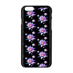 Flowers Pattern Background Lilac Apple iPhone 6/6S Black Enamel Case Front