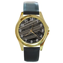 Fractal 3d Construction Industry Round Gold Metal Watch