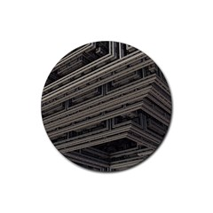 Fractal 3d Construction Industry Rubber Coaster (round)