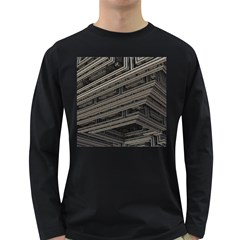 Fractal 3d Construction Industry Long Sleeve Dark T Shirts by BangZart