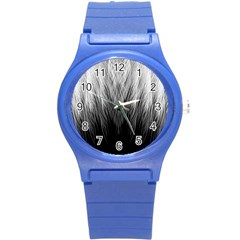 Feather Graphic Design Background Round Plastic Sport Watch (s) by BangZart