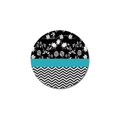 Flowers Turquoise Pattern Floral Golf Ball Marker by BangZart