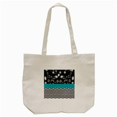 Flowers Turquoise Pattern Floral Tote Bag (cream)