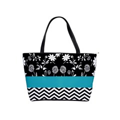 Flowers Turquoise Pattern Floral Shoulder Handbags by BangZart