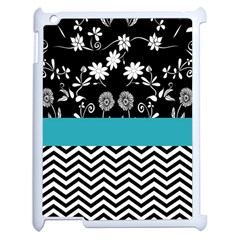 Flowers Turquoise Pattern Floral Apple Ipad 2 Case (white) by BangZart