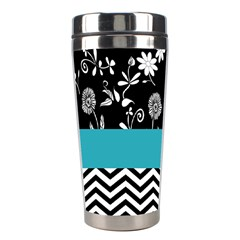 Flowers Turquoise Pattern Floral Stainless Steel Travel Tumblers by BangZart