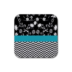 Flowers Turquoise Pattern Floral Rubber Coaster (square)  by BangZart