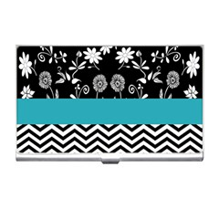 Flowers Turquoise Pattern Floral Business Card Holders by BangZart
